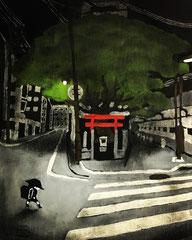 30×40 アクリル ベニヤ 「神社」 2019