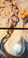 """Annette Palder - Projekt """"GEBOrGEN"""" Werk """"AQUA IV"""" - 102,5 x 50 x 4,5 cm - 2 Leinwände jeweils auf Keilrahmen, mit bearbeiteten Eisenplatten verbunden - 2013 - (c) tOG-Düsseldorf"""