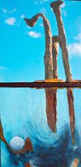 """Annette Palder - Projekt """"GEBOrGEN"""" Werk AQUA V"""" - 102,5 x 50 x 4,5 cm - 2 Leinwände jeweils auf Keilrahmen, mit bearbeiteten Eisenplatten verbunden - 2013 - (c) tOG-Düsseldorf"""