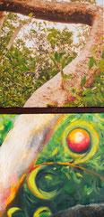 """Annette Palder - Projekt """"GEBOrGEN"""" Werk TERRA III - 102,5 x 50 x 4,5 cm - 2 Leinwände jeweils auf Keilrahmen, mit bearbeiteten Eisenplatten verbunden - 2013 - (c) tOG-Düsseldorf"""