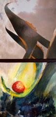 """Annette Palder - Projekt """"GEBOrGEN"""" Werk TERRA I - 102,5 x 50 x 4,5 cm - 2 Leinwände jeweils auf Keilrahmen, mit bearbeiteten Eisenplatten verbunden - 2013 - (c) tOG-Düsseldorf"""