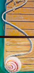 """Annette Palder - Projekt """"GEBOrGEN"""" Werk AQUA VI - 102,5 x 50 x 4,5 cm - 2 Leinwände jeweils auf Keilrahmen, mit bearbeiteten Eisenplatten verbunden - 2013 - (c) tOG-Düsseldorf"""