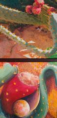 """Annette Palder - Projekt """"GEBOrGEN"""" Werk TERRA II - 102,5 x 50 x 4,5 cm - 2 Leinwände jeweils auf Keilrahmen, mit bearbeiteten Eisenplatten verbunden - 2013 - (c) tOG-Düsseldorf"""
