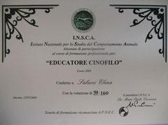 Diploma di Educatore Cinofilo I.N.S.C.A. 2008