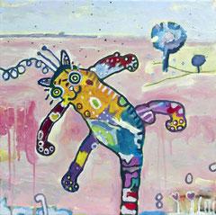 Die Katz, 40 x 40 cm, Acrylfarbe auf Leinwand, 2016 - Thomas Anton Stribick