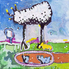 Fliege, Schaf, Nashorn, 40 x 40 cm, Acrylfarbe auf Leinwand, 2013 - Thomas Anton Stribick