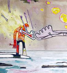 Hermes, 110 x 120 cm, Acrylfarbe auf Leinwand, 2014 - Thomas Anton Stribick