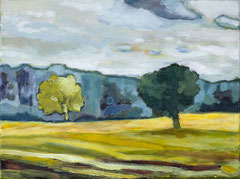 Felder und Bäume, 40 x 30 cm, Acrylfarbe auf Leinwand, 2019 - Thomas Anton Stribick