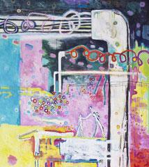Im rosigen Reich der Optimisten, 100 x 90 cm, Acrylfarbe auf Leinwand, 2012 - Thomas Anton Stribick
