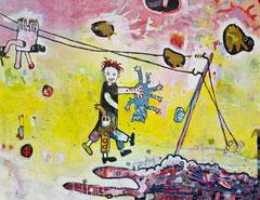 katzenkram, 130 x 100 cm, Acrylfarbe auf Leinwand, 2013 - Thomas Anton Stribick