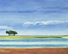 Maasholm Lotseninsel, 40 x 50 cm, Ölfarbe auf Leinwand, 2015, Thomas Anton Stribick - in Privatbesitz