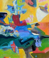 """""""Komposition mit Gelb"""", 100 x 80 cm, Öl auf Leinwand, 2014"""