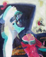 """""""Topfplanze"""", 100 x 80 cm, Übermalung, Öl auf Leinen, 2009"""