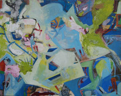 """""""Graffiti"""", Übermalung, 153 x 180 cm, Öl auf Leinen, 2006"""