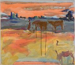 """""""Kühe in Bulgarien"""", 70 x 80 cm, Öl auf Nessel, 1996"""