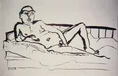 """""""Boris"""", ca. DIN A2, Aktzeichenung, Tusche auf Papier, 1989"""
