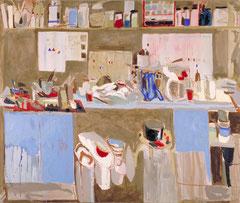 """""""Atelier I"""", 195 x 230 cm, Eitempera/Öl auf Leinen, 1996"""