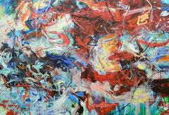 """""""Im Hamsterrad"""", 190 x 280 cm, Öl auf Nessel, 2014"""