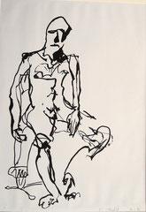 """""""Männerakt"""", Tusche auf Papier, 1991"""