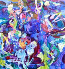 """Distelblue"", 105 x 100 cm, Öl auf Nessel, 2015"