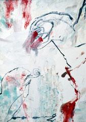 """Fischkampf"", DIN A4, Ölkreide Grfit auf Papier, 1997"