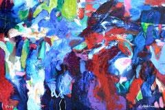 """""""Aktion Blaurot"""", 90 x 130 cm, Öl auf Leinen, 2017"""