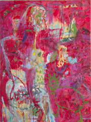 """""""Dicke Frau mit grünem Haustierchen"""", 80 x 60 cm, Öl auf Leinen, 1994"""