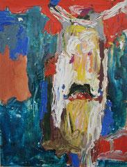 """""""Mann mit Hut"""", 32 x 24 cm, Öl auf Papier, 1995"""