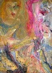 """""""Beziehung 1"""", DIN A4, Ölkreide auf Papier, 1997"""