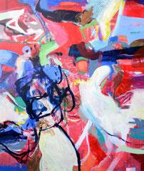 """""""Red Dot 2"""", 200 x 170 cm, Öl auf Leinen, 2016"""