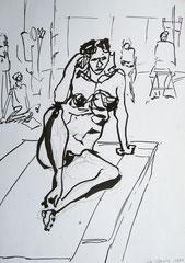 """""""Akt"""", Tusche auf Papier, 1991"""