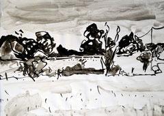 """""""Frankreich"""", DIN A4, Tusche auf Papier, 2007"""