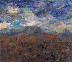 """""""Landschaft nach Braun"""", 70 x 80 cm, Öl auf Jute, 1997"""