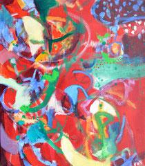 """""""Red Dot"""", 80 x 70 cm, Öl auf Leinen, 2015"""