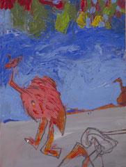 """""""Strauss"""", 32 x 24 cm, Mischtechnik auf Papier, 1995"""