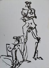 """""""2 Akte"""", 41x30, Tusche auf Papier, 1991"""