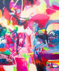 """""""Play World"""", 180 x 150 cm, Öl auf Leinen, 2019"""