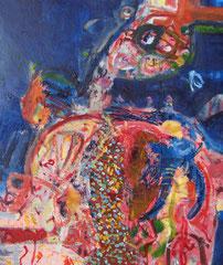 """""""Fisch mit Land"""", 80 x 70 cm, Öl auf Leinen, 2011"""