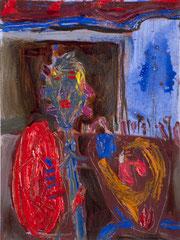 """Fotzentrommler"", 32 x 24 cm, Öl auf Papier, 1995"