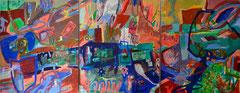 """""""Geld oder wie werde ich Millionär"""", drei mal 145 x 125 cm, Eitempera und Collage auf Nessel, 1995"""