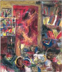 """""""Atelierbild"""", 145 x 125, Acryl auf Nessel, 1998"""