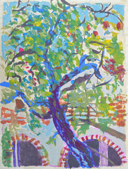 """Baum Mexico"", 40 x 30, Acryl auf Amatl, 1992"