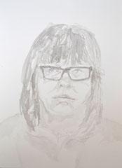 """""""Selbstportrait"""", DIN A4, Tusche und Wasser auf Papier, 2014"""