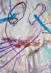 """""""Katze"""", DIN A4, Mischtechnik auf Papier, 1997"""