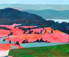 """""""Landschaft auf Rot"""", 80 x 100 cm, Mischtechnik, 2007"""