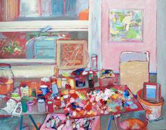 """""""Atelierstilleben 2"""", 110 x 130, Öl auf Nessel, 2014"""