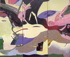 """Ufolandung"", 170 x 200 cm, Öl auf Leinen, 3-teilig, 2008"
