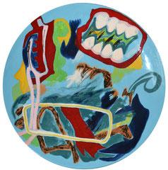 """""""Teller"""", 24 inch, Unterglassur auf weißem Ton, 1991"""