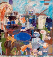 """""""Stilleben im Atelier"""", 145 x 125 cm, Öl auf Jute, 1995"""