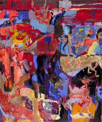 """Pink Pantha"" 1, 130 x 110 cm, Öl auf Leinwand, 1994"